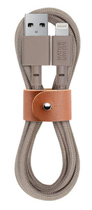 Charge/Sync Belt Cable Lightning 4ft. Taupe - Unwired Solutions Inc