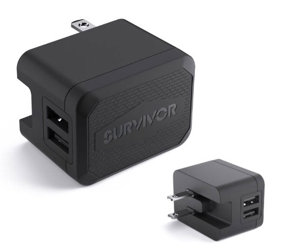 Suvivor Wall Charger Dual USB 4.8A Black - Unwired