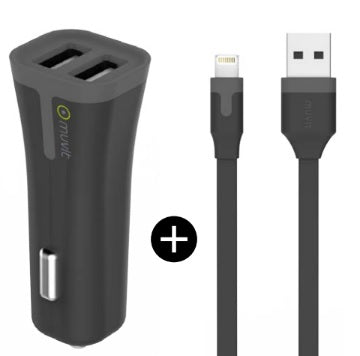 Car Charger Lightning 2.4A w/Extra USB Black - Unwired
