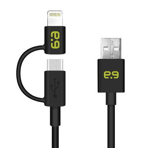 2-in-1 Charge/Sync Micro USB/Lightning Cable 4ft BK - Unwired Solutions Inc