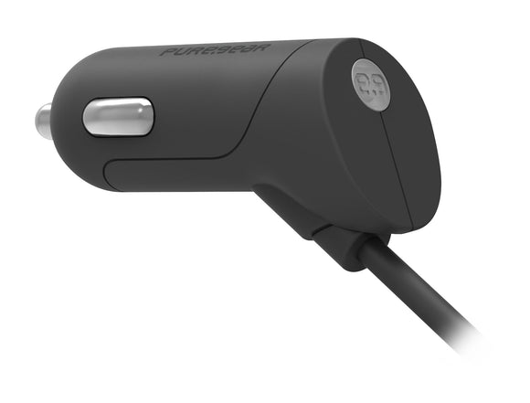Micro USB Corded Car Charger 2.4A Black