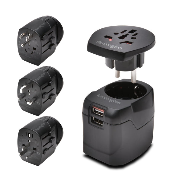 International Travel Adapter w/ Dual USB Ports Black - Unwired