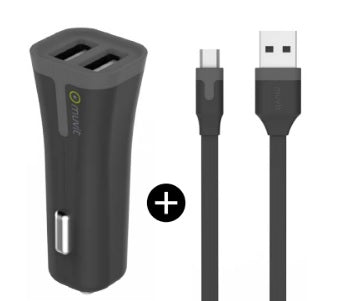 Car charger Micro USB 3.4 w/Extra USB Black - Unwired Solutions Inc