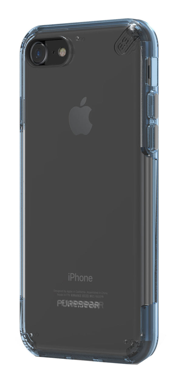 Slim Shell Pro iPhone 8/7 Clear/Blue - Unwired Solutions Inc