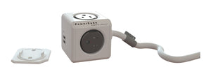 PowerCube Extended 4 outlets 2 USB 5' cord Grey - Unwired