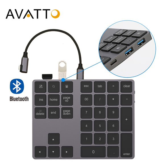 Aluminum Alloy Bluetooth Wireless Keypad with USB HUB Digital Input Function for Android, Windows, iOS and MacOS