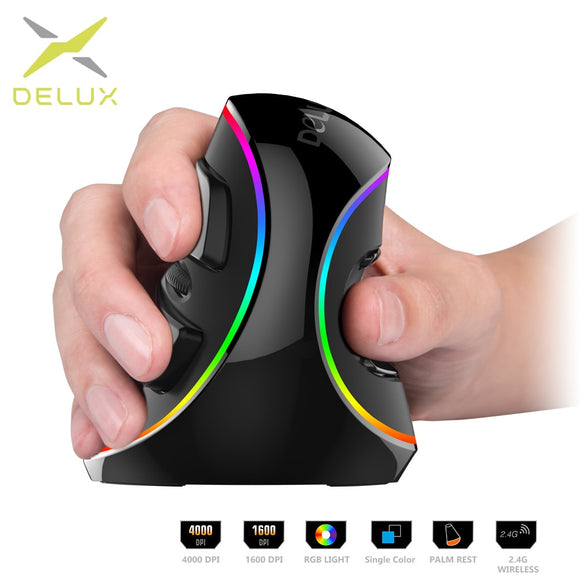 Ergonomic Vertical Gaming Mouse w/ 6 Buttons 4000 DPI RGB Wireless Right Hand Mouse Windows/MAC