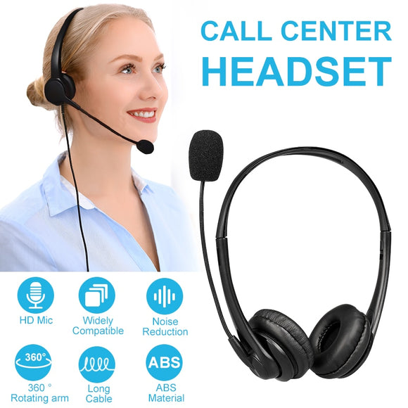 Wired Headset w/ Microphone & Noise Canceling for Call Centers