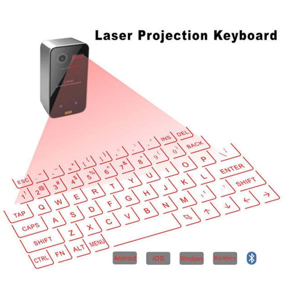 NEW ITEM Laser VR Bluetooth Wireless Projection Keyboard w/ Gestures and Power Bank Compatible with Bluetooth & USB (Included)