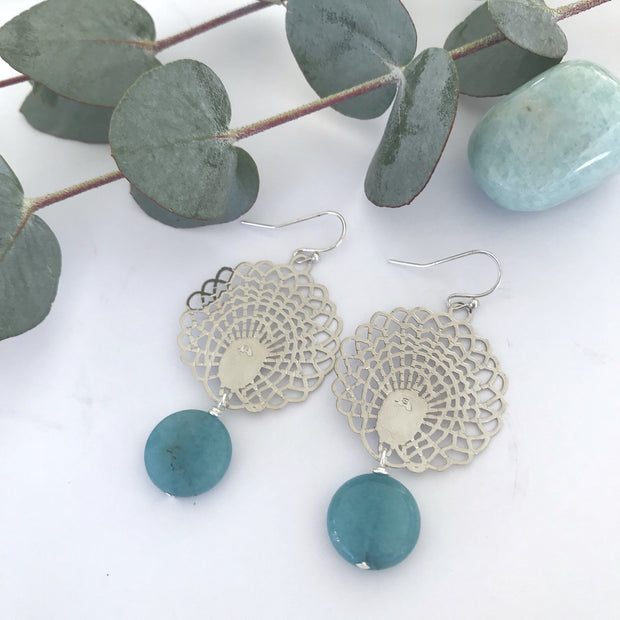 SILVER PEACOCK EARRINGS - Ivy and Bird