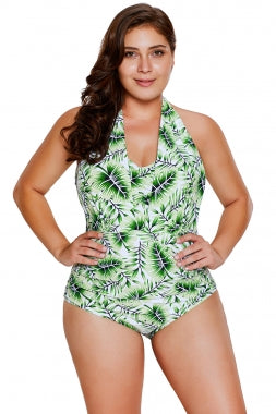0447fa5877fa9 Green Leaf Print Halterneck One Piece Swimsuit – KHY MAY CORP