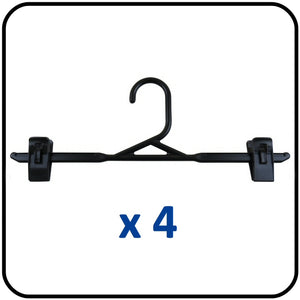 Braiform Australia Plastic Clip Hanger Black Heavy Duty Pack of 4