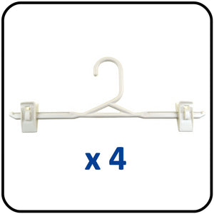 Braiform Australia Plastic Clip Hanger White Heavy Duty Pack of 4