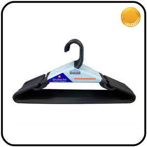 Plastic Clothes Hangers - Heavy Duty - Black