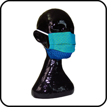 Cotton 3 Layer Face Mask - Blue and Blue Green Pattern