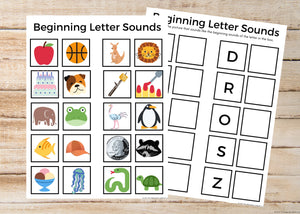 Beginning Letter Sounds Worksheets