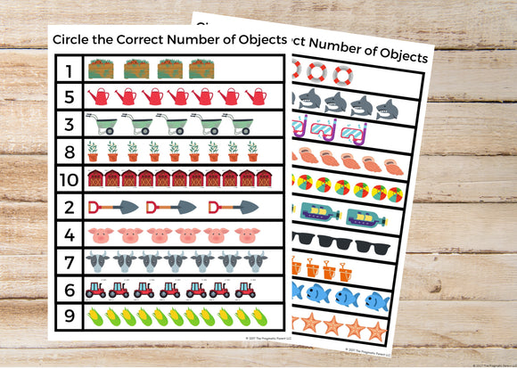 Count & Circle Objects Worksheets