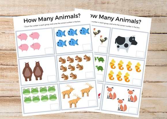 How Many Animals Counting Worksheets