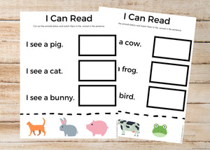 I Can Read Beginner Worksheets
