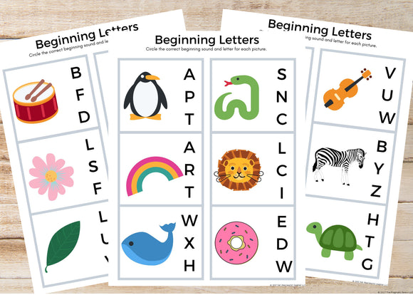 Beginning Letters & Sounds Worksheets