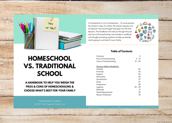 Homeschool vs. Traditional School Parent's Workbook