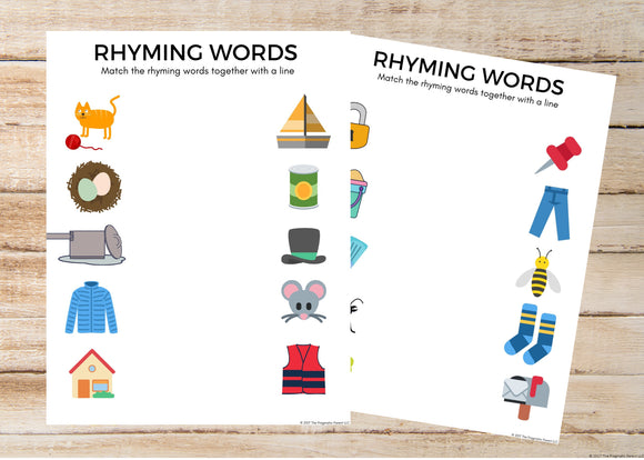 Rhyming Words Matching Worksheets