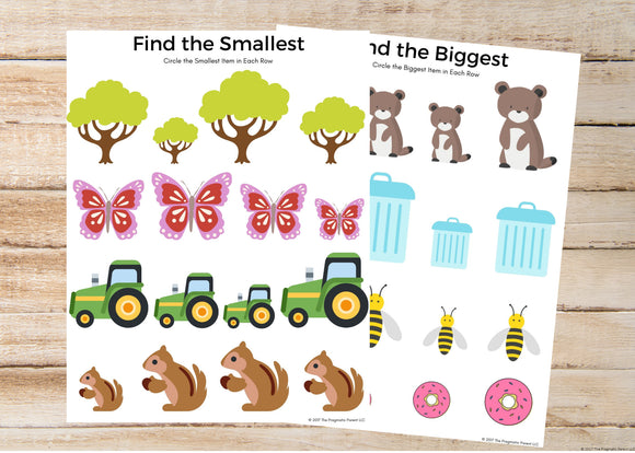 Biggest & Smallest Worksheets
