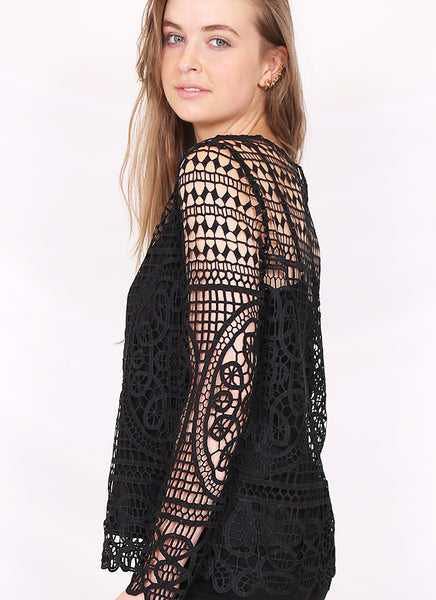Amber Lace Top in Black