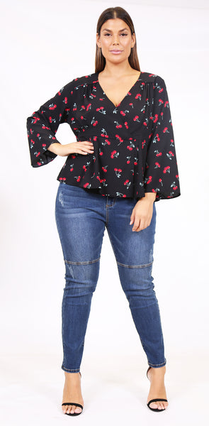 Cherry Bomb wrap top