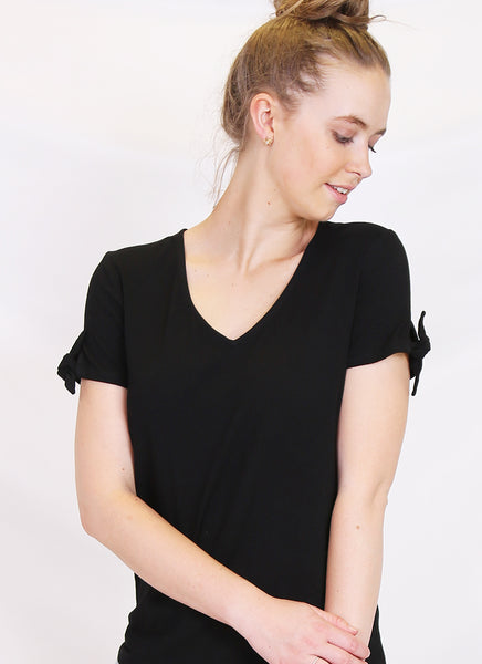Tie sleeve tee - in Black