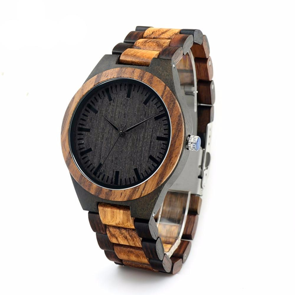 Men's Walnut and Ebony Wooden Watch