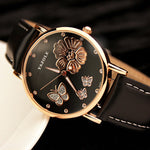 Butterfly Flower Genuine Leather Watch