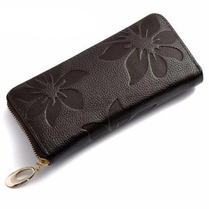 Flower Print Leather Wallet