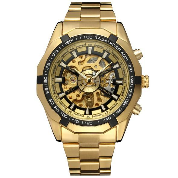 Automatic Mechanical Gold Skeleton Vintage Watch