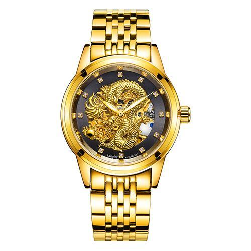 Luxury 3D Carving Dragon Gold Watch