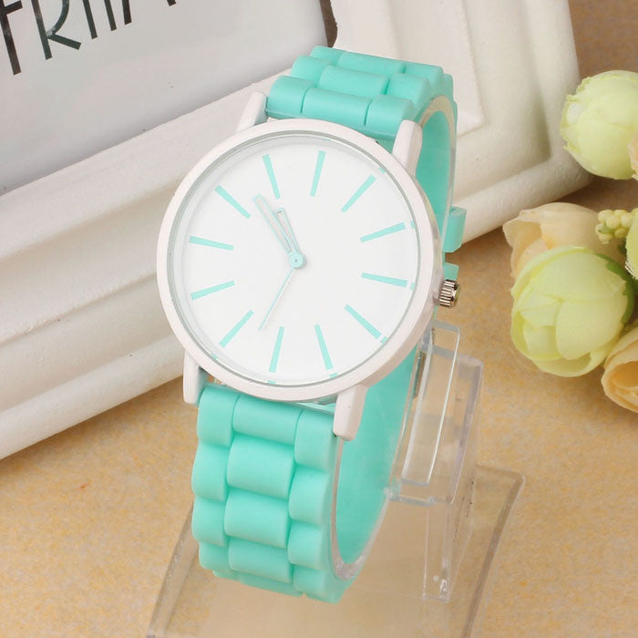 Silicone Rubber Quartz Analog Sports Watch