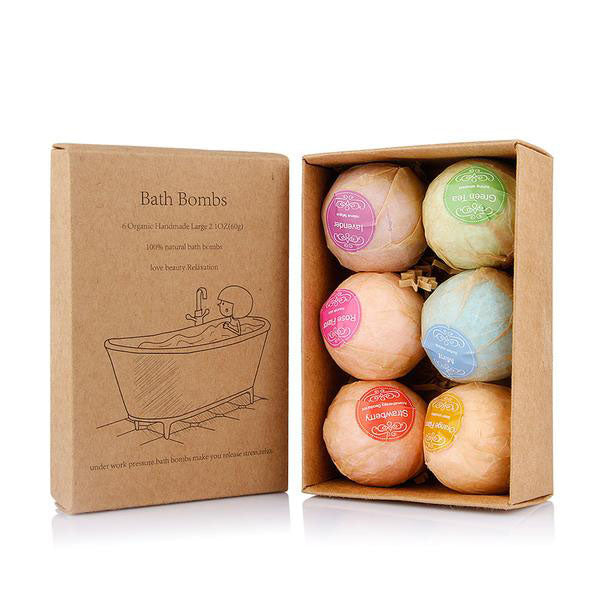 6 Organic Handmade Bath Bombs with Essential Oils