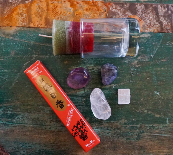 Intention Kit with candles, incense, and natural gemstones