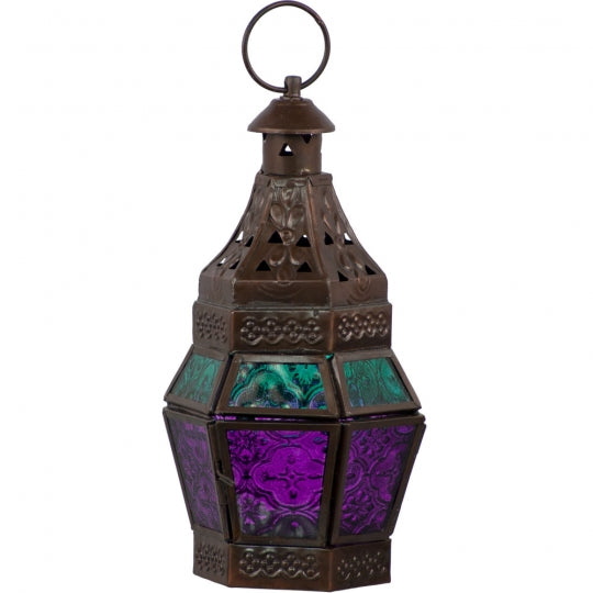 Purple & Turquoise Glass & Metal Lantern
