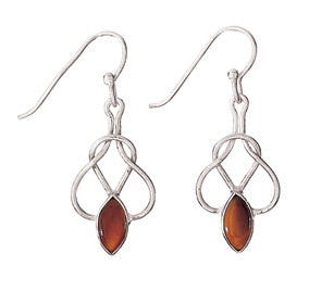 Tiger's Eye Knot Silver Earring
