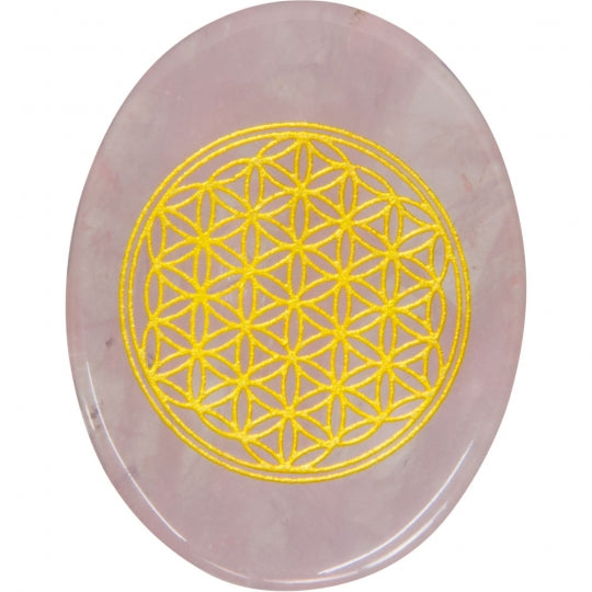 Flower of Life Rose Quartz Pocket Stone