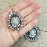 Labradorite and Crystal Earring