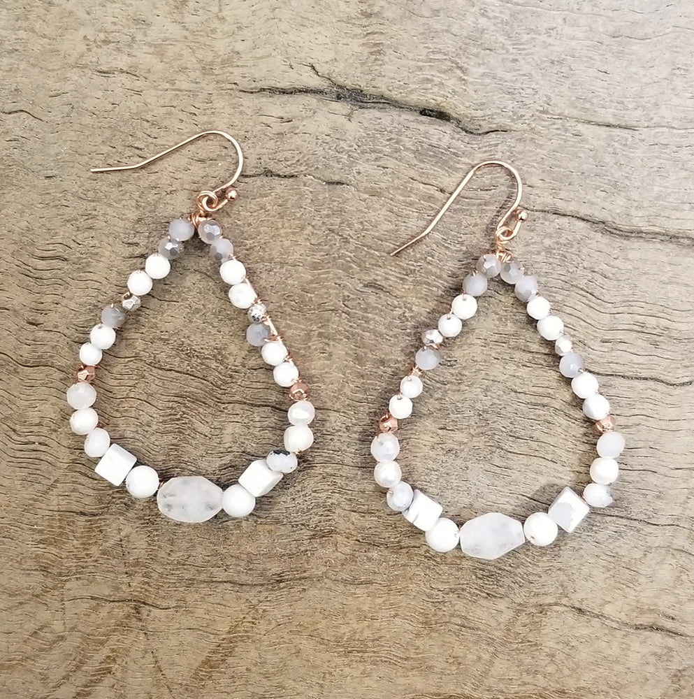 Quartz and Pearl Copper Earring