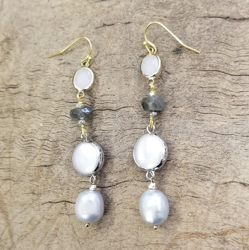 Labradorite, Rose Quartz, and Pearl Earring