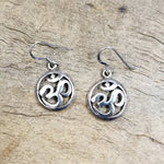 Om Circle Silver Earring