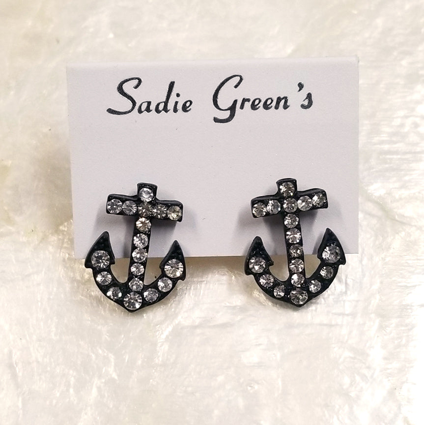 Crystal Anchor Stud Earrings