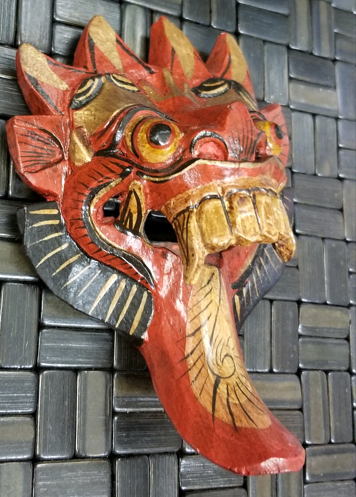 Mask Red hand-carved 8""
