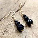 Black Onyx and Gold Filled Earring