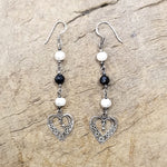 Heart with Pearls Silver Earring