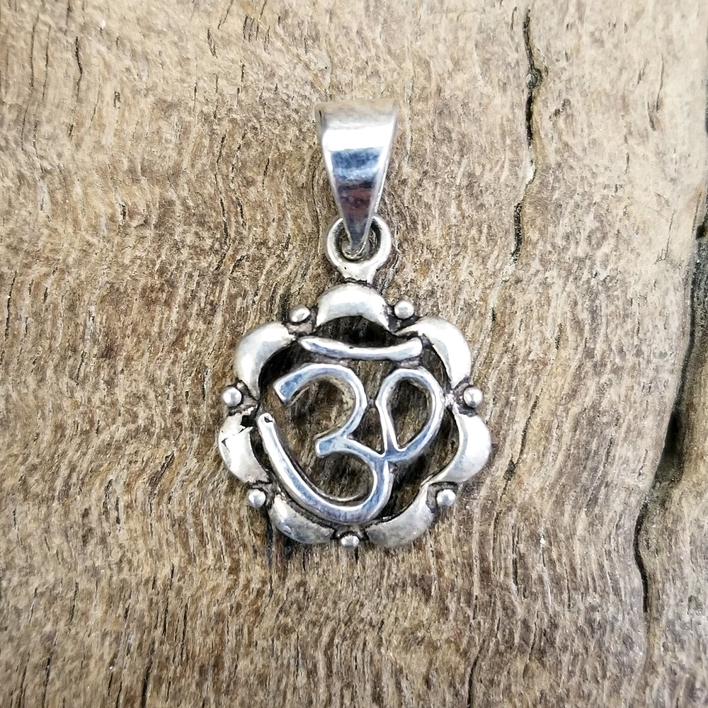 Om in Lotus Silver Pendant 1""